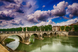 Rome, Italy. Beautiful view of Tiber river with famous Bridge