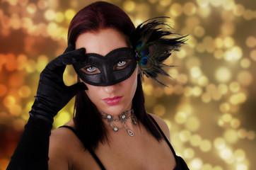 Beautiful woman in carnival mask.