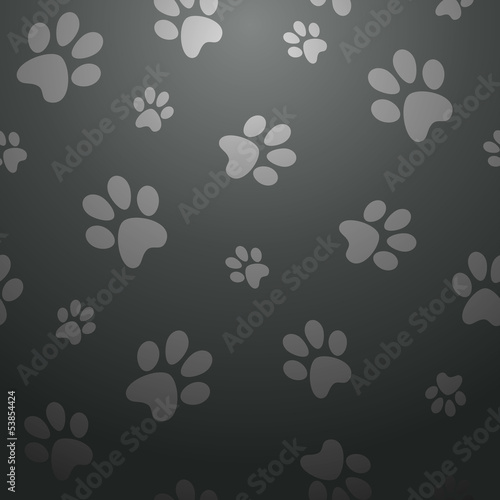 Staande foto Kunstmatig Black dog footprints pattern