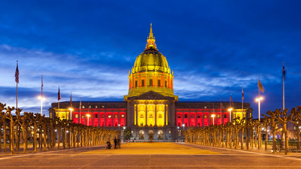 San Franicisco City Hall in Red and Gold