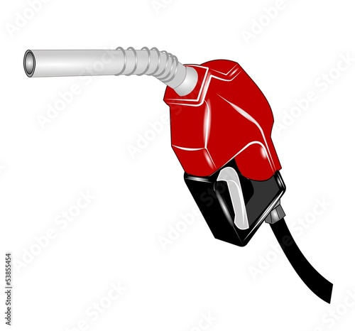 gasoline pump nozzle isolated