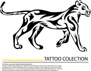 Lioness - black outline illustration as vector