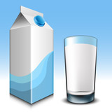 Milk carton with glass
