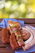 schaschlik, grillwürste, hackspiesse und bauchspeck