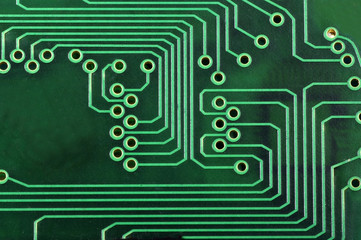 macro of a green circuit board