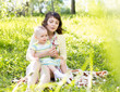 mother with child outdoors