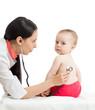 doctor examining kid girl isolated on white