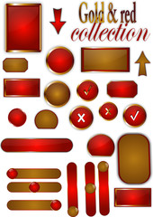 Collection of gold and red buttons, offers, stickers