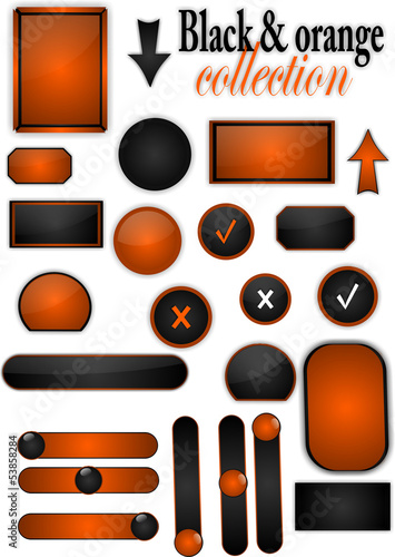 Collection of black and orange buttons, stickers, offers