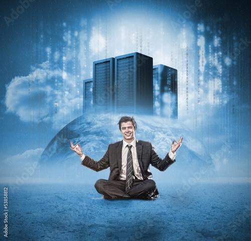 Happy businessman meditating
