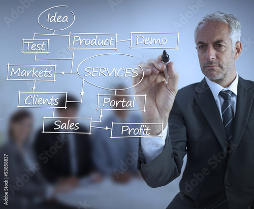 Sophisticated businessman writing business terms