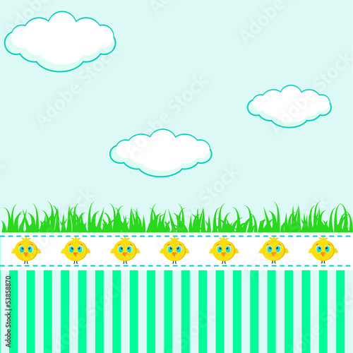 Kids background with clouds - 53858870