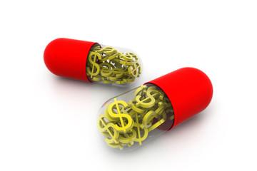 gold dollar inside the pill
