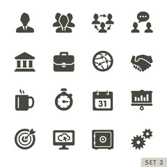 Office and business icons. Rounded set 3