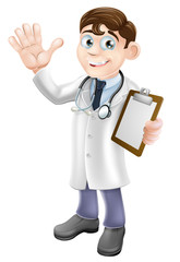Cartoon Doctor Holding Clipboard