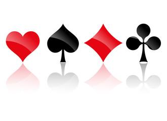 Spielkarten Symbole mit Spiegelung