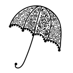Ornate umbrella design, black silhouette