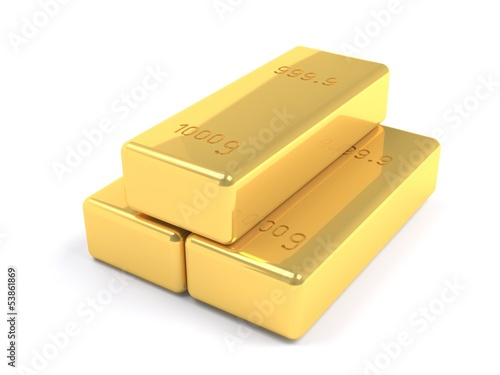 stacked golden bars on white background