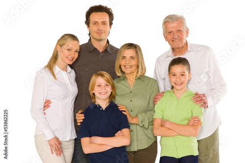 three generations family standing isolated on white background