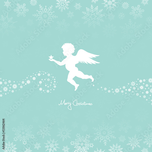 Flying Angel Holding Star Retro/White Snowflakes