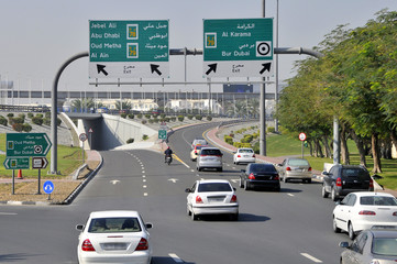 Dubai modern highway and interchange road junction