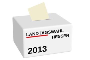 Wahlurne zur Landtagswahl Hessen 2013