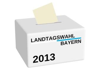 Wahlurne zur Landtagswahl Bayern 2013