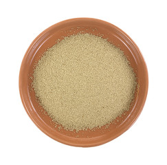 Organic active dry yeast in bowl