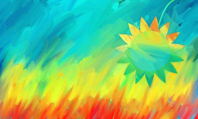 sunny field sunflower sky wheat corn landscape summer happiness