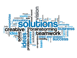 """SOLUTIONS"" Tag Cloud (business ideas smart creativity vision)"