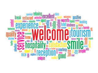"""WELCOME"" Tag Cloud (customer service greetings smile card sign)"