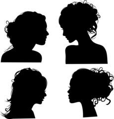 Силуэты причесок векторные девушки