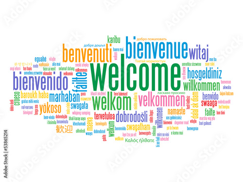 """WELCOME"" Tag Cloud (customer service greetings home smile card)"