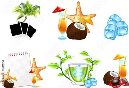 Лето пляж векторные иконки