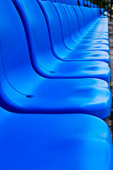 Blue seat   in football stadium