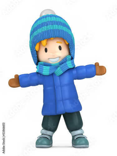 3D render of a happy boy wearing winter clothes