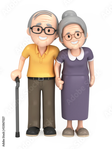3D render of a happy old couple