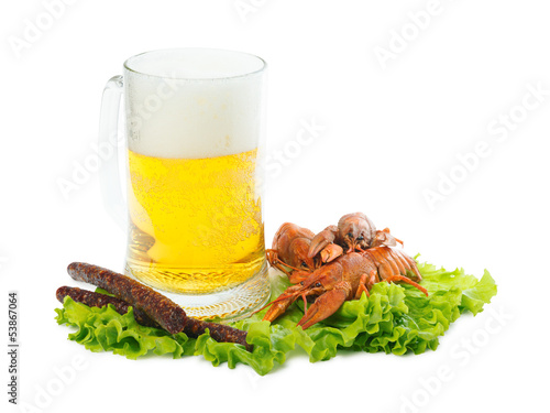 Beer with crayfish and sausages