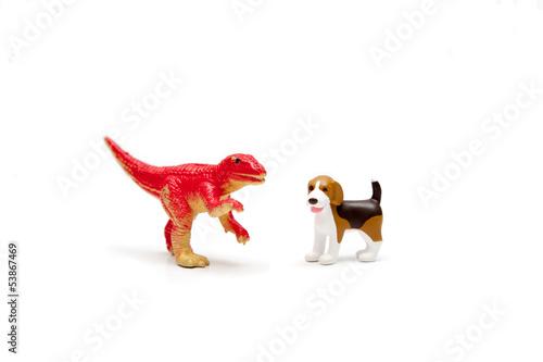 ティラノサウルスと犬