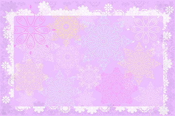 Pink background with colored ornaments.