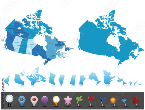 Fototapeta Canada - highly detailed political map.