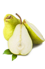 ripe pears close up on the white