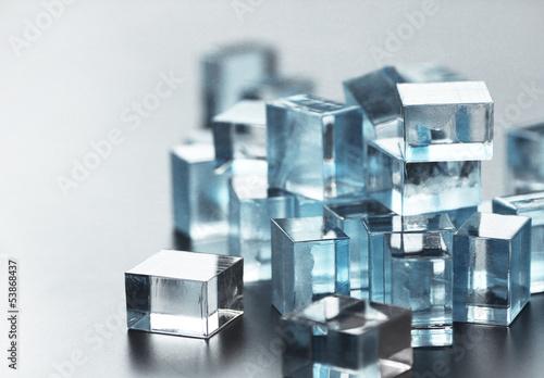 Leinwandbild Motiv a pile of many little glass cubes