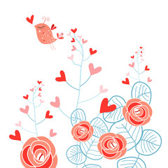 Plants with hearts and love bird