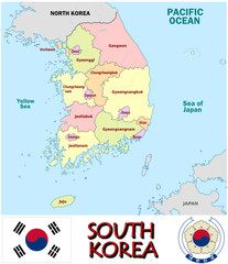 South Korea Asia national emblem map symbol motto