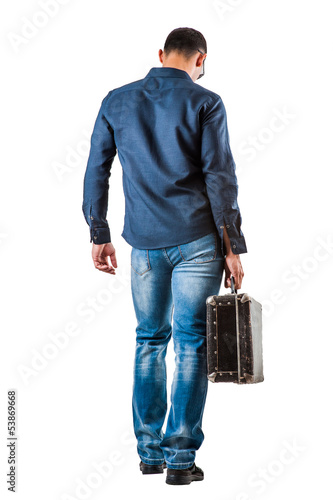 back of young man on white background
