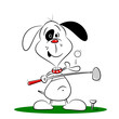 A cartoon dog playing golf on a white background