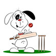 A cartoon dog paying cricket on a white background