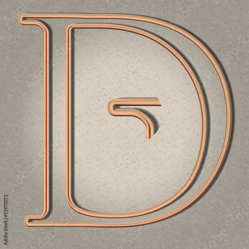 Copper pipe letter for steampunk illustrations