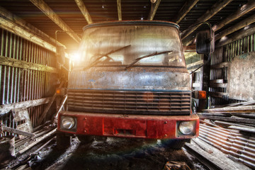 forgotten truck in barn